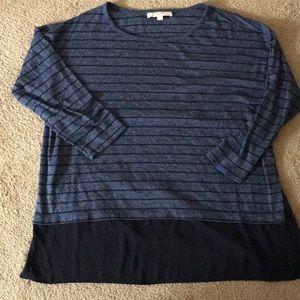 XL LOFT mixed material 3/4 sleeve sweater